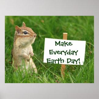 Poster del Chipmunk del Día de la Tierra