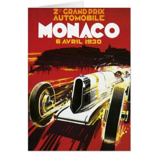 Poster del ciclismo en ruta del coche de Mónaco de Tarjeta De Felicitación