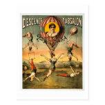 Poster del circo de Srta. Stena Flying Trapese Vin Tarjeta Postal