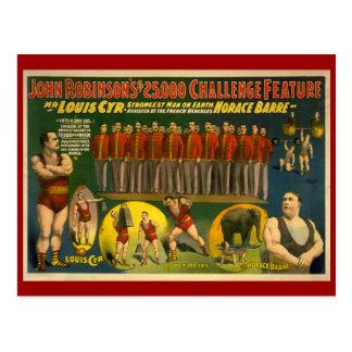 Poster del circo del desafío de Juan Robinson $25. Postal