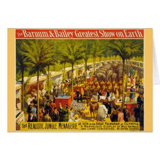 Poster del circo del vintage - Barnum y Bailey Tarjeta De Felicitación