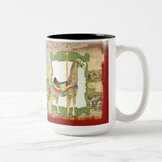 Poster del circo del vintage, carnaval del taza de dos tonos
