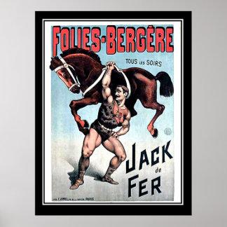 Poster del circo del vintage del hombre fuerte de