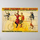 Poster del circo del vintage el Melrosas. milagros