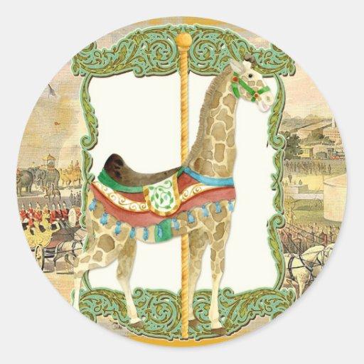 Poster del circo del vintage, fiesta de bienvenida pegatina redonda