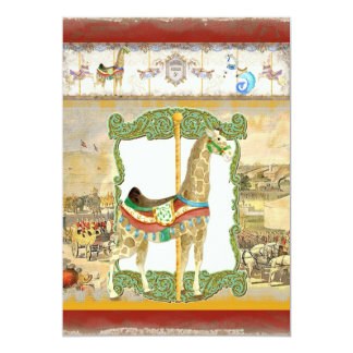 """Poster del circo del vintage, fiesta de cumpleaños invitación 5"""" x 7"""""""