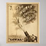 Poster del circo del vintage - la bola de cañón