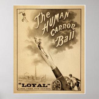 Poster del circo del vintage la bola de cañón