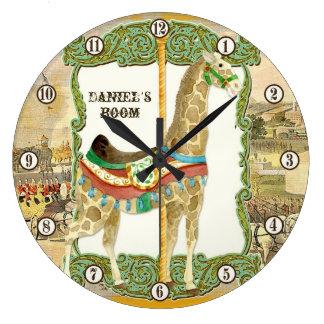 Poster del circo del vintage, reloj del sitio del
