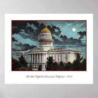 Poster del claro de luna del capitolio del estado