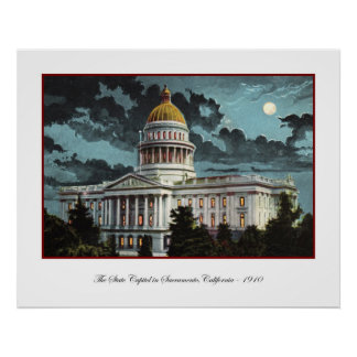 Poster del claro de luna del capitolio del estado  póster