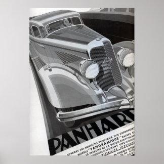 Poster del coche del vintage de Panhard