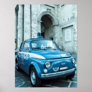Poster del coche policía de Fiat 500, Cinquecento, Póster
