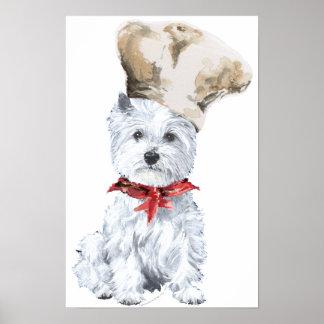 Poster del cocinero de Terrier blanco de montaña d