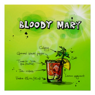 Poster del cóctel del bloody mary