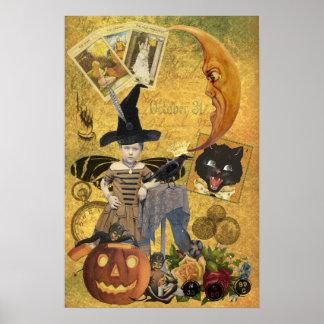 Poster del collage de Halloween del vintage Póster