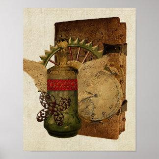 Poster del collage de la fantasía de Steampunk