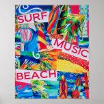 Poster del collage de la playa y de la resaca