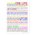 Poster del color del manifiesto de la vida tarjeta postal