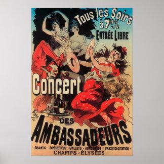 Poster del concierto en la avenida de Champs-Elyse