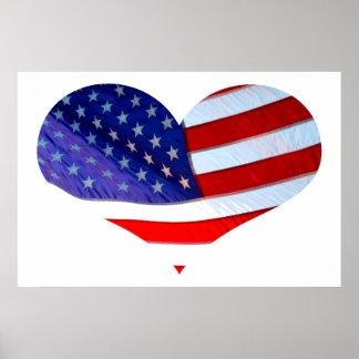 Poster del corazón de la bandera americana
