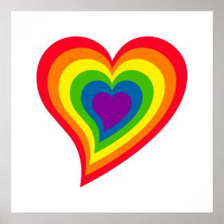 Poster del corazón del arco iris póster
