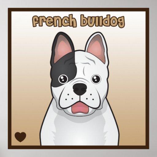 Poster del corazón del dibujo animado del dogo fra póster