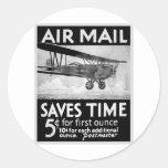 Poster del correo aéreo pegatina redonda