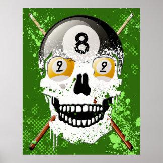 poster del cráneo de 8 y 9 billares de la bola