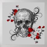 Poster del cráneo de los rosas rojos