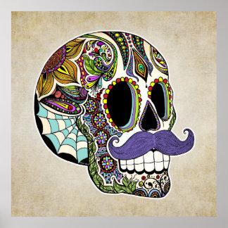 Poster del cráneo del azúcar del bigote - estilo