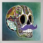 Poster del cráneo del azúcar del bigote - fondo te