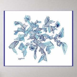 Poster del cristal del vuelo de las azules turques