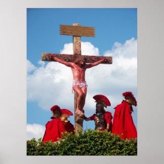 Poster del cristiano de la cruz de la crucifixión