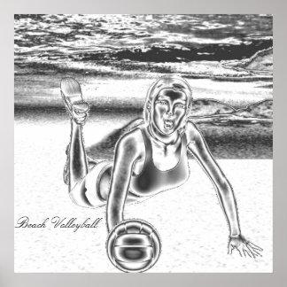 Poster del cromo del voleibol de playa