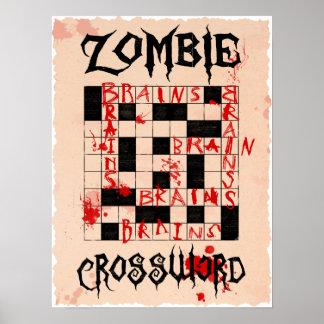Poster del crucigrama del zombi póster