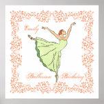 Poster del cuadrado del cumpleaños de la bailarina