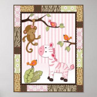 Poster del cuarto de niños de la niña de la cebra