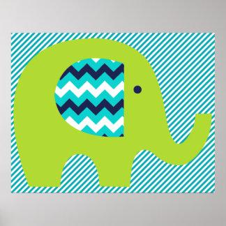 Poster del cuarto de niños del elefante de la cal