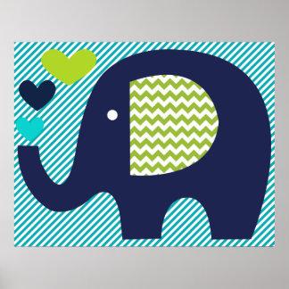 Poster del cuarto de niños del elefante de la mari