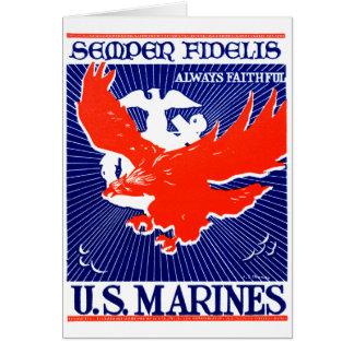 Poster del Cuerpo del Marines de WWII Tarjeta De Felicitación