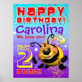 """poster del cumpleaños de 18 x24 """"GiggleBellies Bee"""