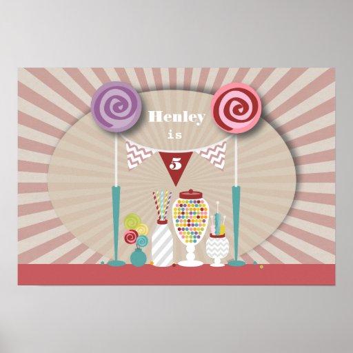Poster del cumpleaños de la comida fría del carame