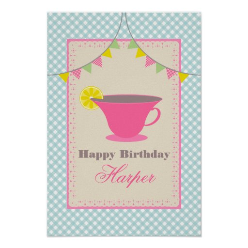 Poster del cumpleaños de la fiesta del té