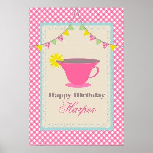 Poster del cumpleaños de la fiesta del té - guinga