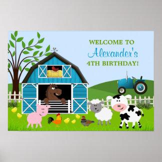 Poster del cumpleaños de los animales del campo de