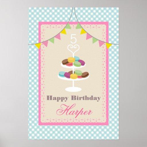 Poster del cumpleaños de Macarons - guinga azul