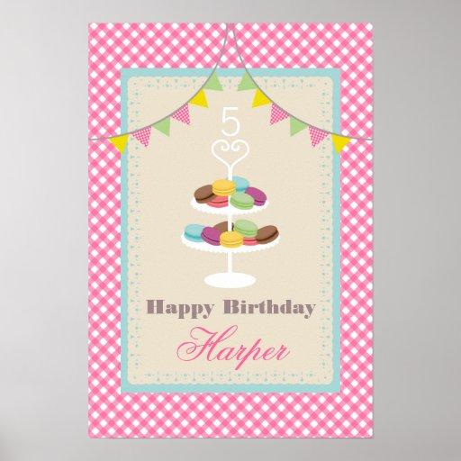 Poster del cumpleaños de Macarons - guinga rosada