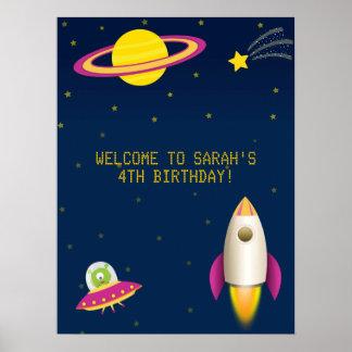 Poster del cumpleaños de Rocket del espacio exteri