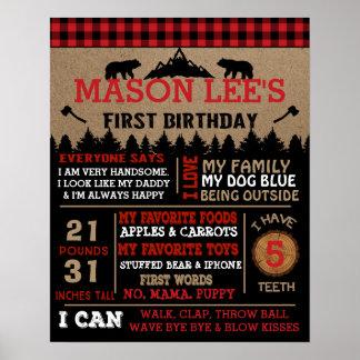 Poster del cumpleaños del leñador de la tela póster